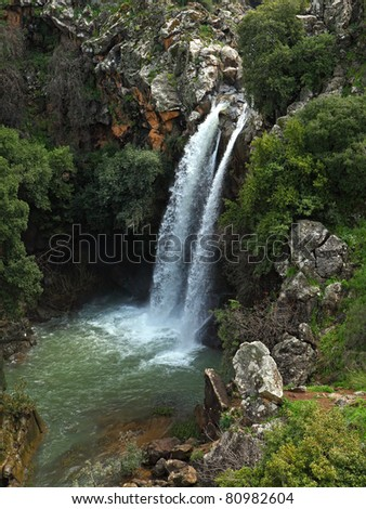 Banias waterfall in the spring at the Golan Heights (Israel).