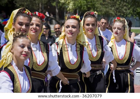 BANJA LUKA - JUNE 21 - Young people in traditional Bosnian ethnic clothing during the International folk dance festival Dukat fest 2009. The event was held June 21,2009 in Banja Luka, Bosnia