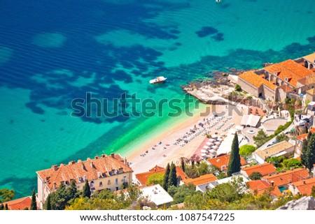 Banje beach in Dubrovnik aerial view, Dalmatia region of Croatia