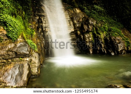Banjhakri waterfalls in Sikkim , India fall from a height of 100 feet. Banjhakri is a traditional shamanic healer , with Ban meaning forest and Jhakri meaning healer.