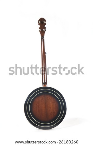 banjo back isolated on a white background. Musical instrument.