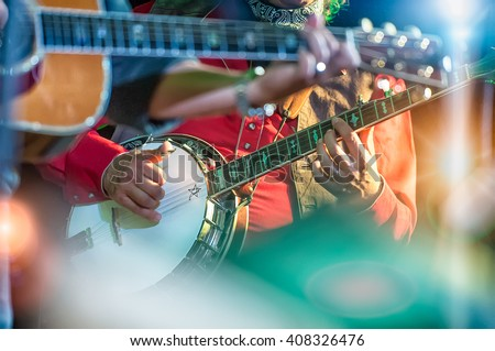 Banjo player in the country band - Shutterstock ID 408326476