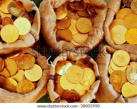 bank bags with golden coins