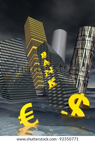 Bank building and financial skyscrapers next to dollar and euro currency drowning in the ocean to symbolize financial crisis