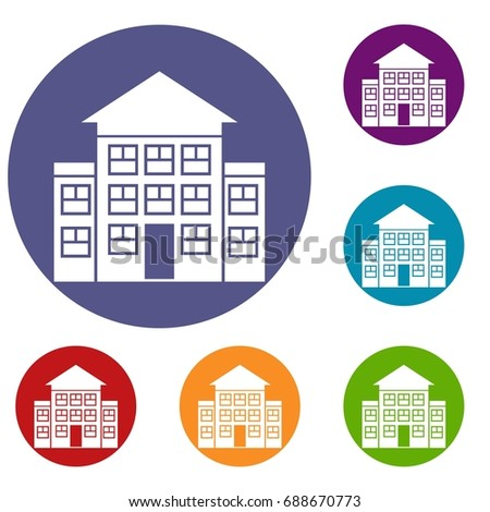 Bank building icons set in flat circle reb, blue and green color for web