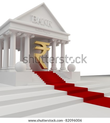 Bank building with a gold symbol Indian rupee 3d isolated on white