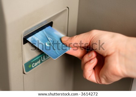 Bank card in ATM machine