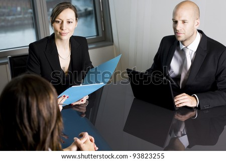 Bank consultants with client