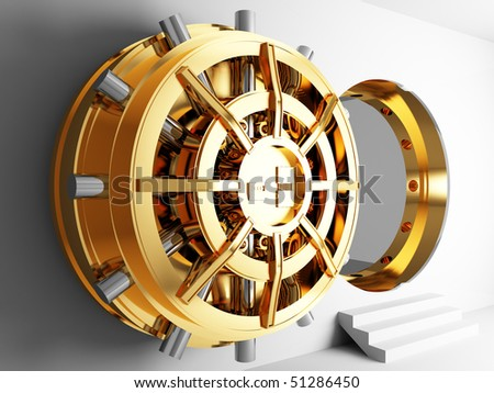 bank golden vault door 3d