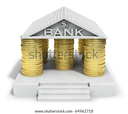 Bank icon with gold coins columns