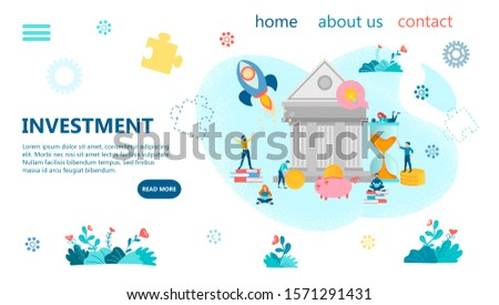 Bank Investment Banner Concept Illustration. Tiny people make deposits for saving and multiplying money. The concept of income growth and profitable investments.