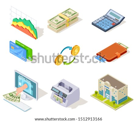 Bank isometric icons. Internet banking, money and checkbook, loans and cash currency, credit card business finance 3d symbols stock photo