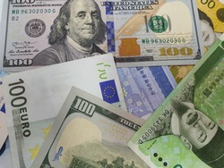 Bank notes in various countries such as US dollar,pound,won and euro for  foreign currencies to exchange.