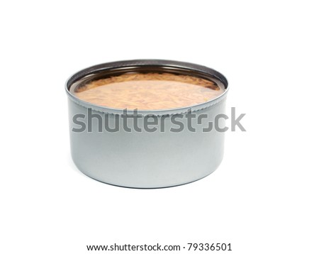bank of canned tuna fish on a white background - stock photo