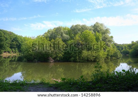 Bank of river - stock photo