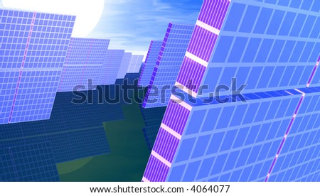 Bank of solar panels in sunlight