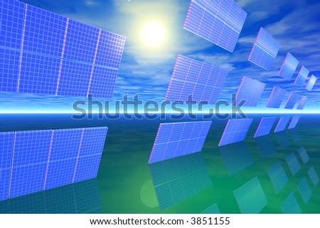 Bank of solar panels in the sun