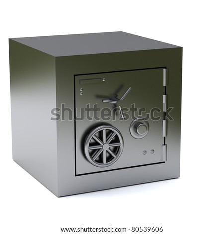 Bank safe box 3d - stock photo