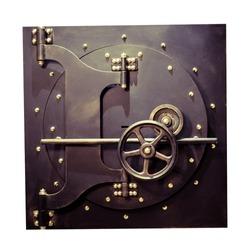 Bank safe. Door with locks