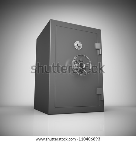 Bank safe in light with reflection