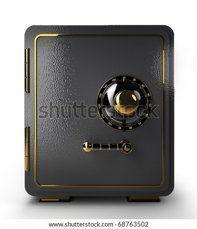Bank safe isolated on white.
