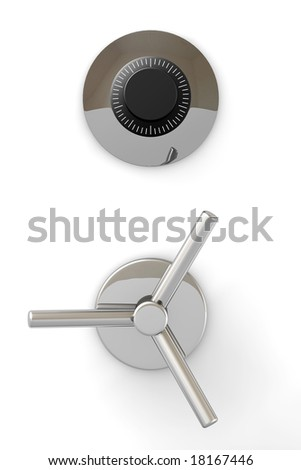 Bank safe mechanism isolated over a white background.