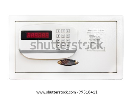 Bank safe on white background