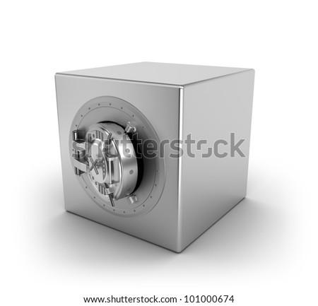 Bank safe over white - stock photo