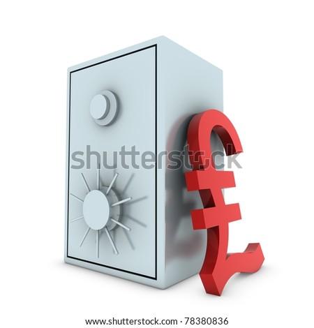 Bank safe with pound symbol