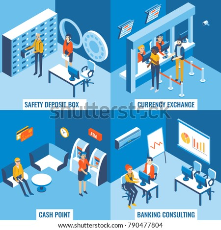 Bank services flat 3d isometric poster set. Safety deposit box, currency exchange, cash point and banking consulting concept design elements for web banners, print, infographics.