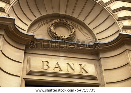 Bank sign above entrance