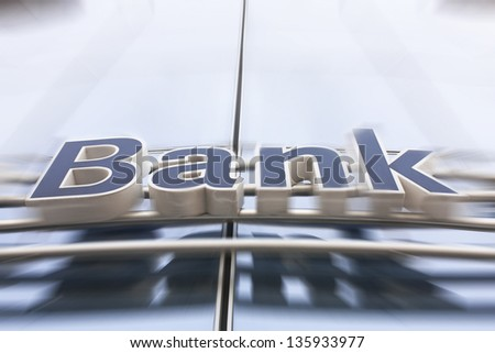 Bank sign on the modern building