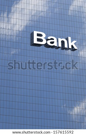 Bank sign on the modern building close up #157615592