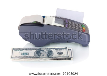 bank terminal, credit card and money isolated on white
