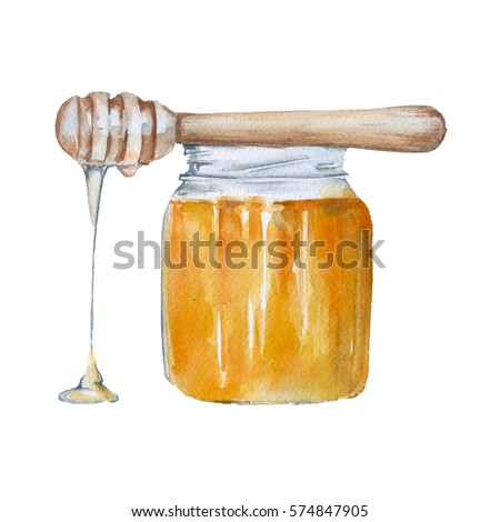 Bank with honey. Isolated on white background. Watercolor illustration