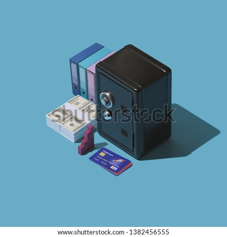 Banking and financial management: safe, cash currency and credit card, isometric objects #1382456555