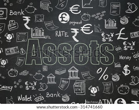 Banking concept: Chalk Green text Assets on School Board background with  Hand Drawn Finance Icons