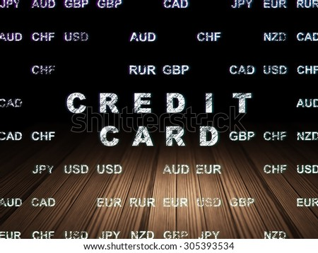 Banking concept: Glowing text Credit Card in grunge dark room with Wooden Floor, black background with Currency, 3d render
