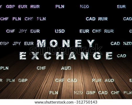 Banking concept: Glowing text Money Exchange in grunge dark room with Wooden Floor, black background with Currency