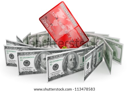 Banking concept. One hundred dollars and Credit Card on a white background
