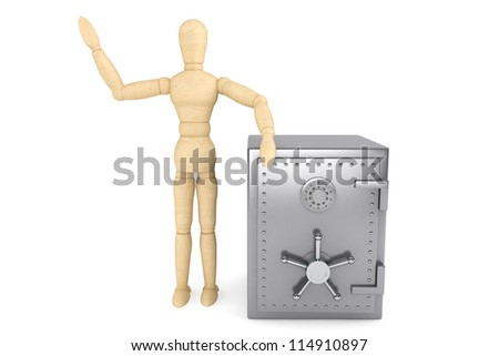 Banking concept. Wooden Dummy and bank safe on a white background