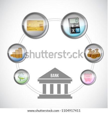 banking icons Illustration. Vector Illustration. isolated over a white background