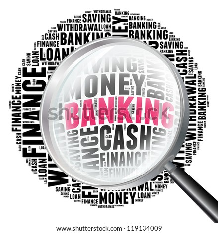 Banking in word collage with magnify glass