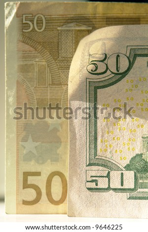 Banknote face value 50 euro and Dollar