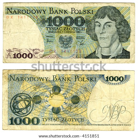 banknote of one thousand zloties, Poland, 1982