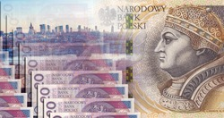 Banknote Polish money 200 zloty and 20 pln. Panorama of the city. Against the background of the metropolis, the city of Warsaw.
