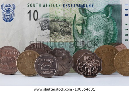 Banknotes and coins - Rands bill of South Africa