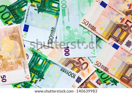 banknotes, euro banknotes spread out on the table