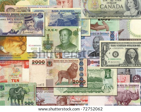 banknotes from different countries overlapping each other