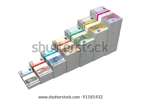 banknotes from 5 to 500 Euro in increasing steps